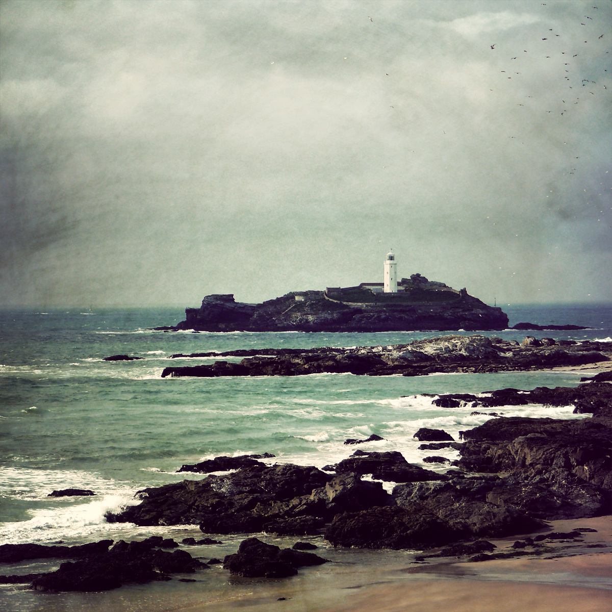 Godrevy Lighthouse, St. Ives Bay, Cornwall, UK where Woolf's family rented a summer cottage during her childhood and the fictionalised setting of  To the Lighthouse, Artist Unknown.