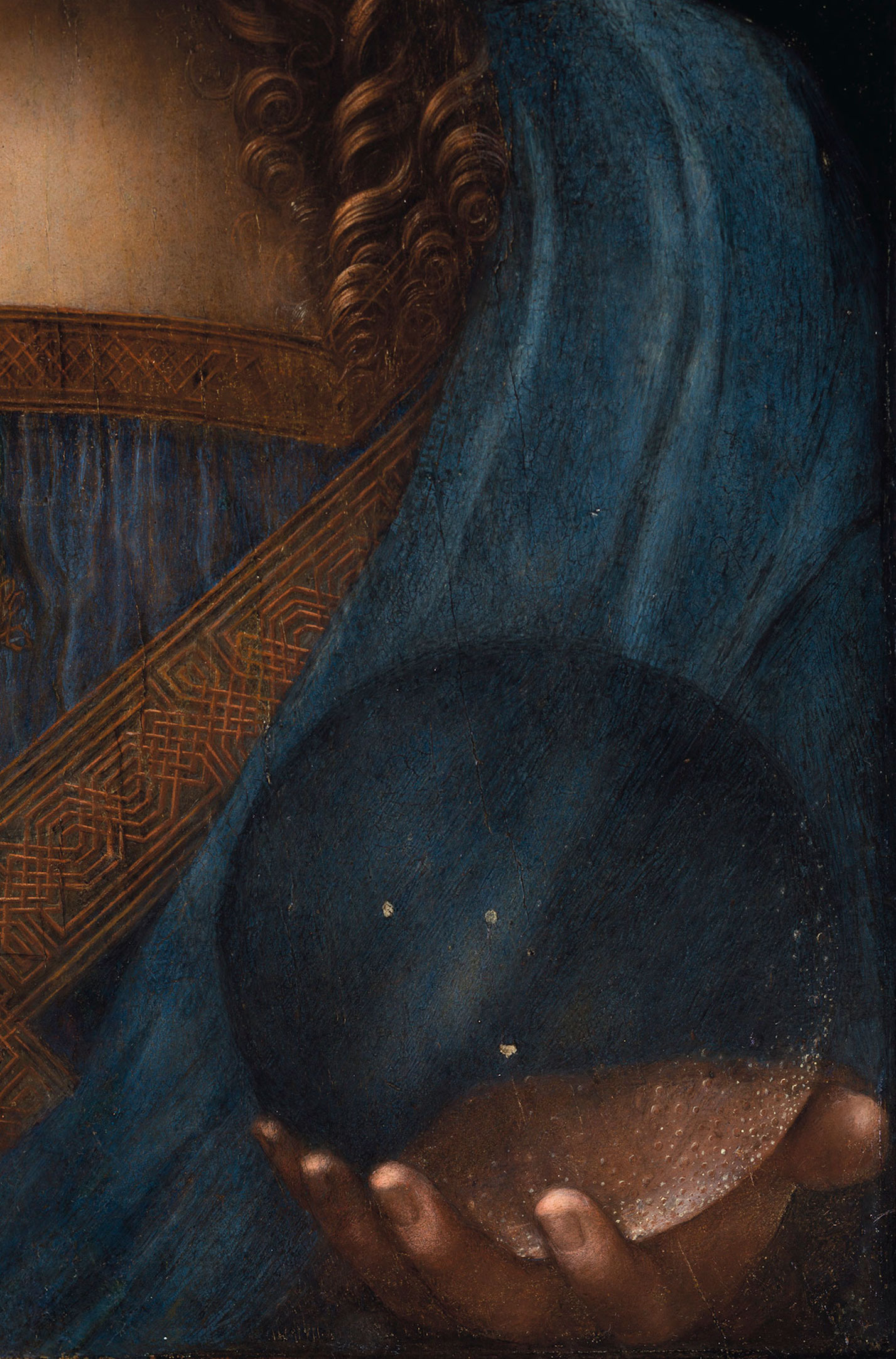 Salvator Mundi, detail of the left hand and transparent globe