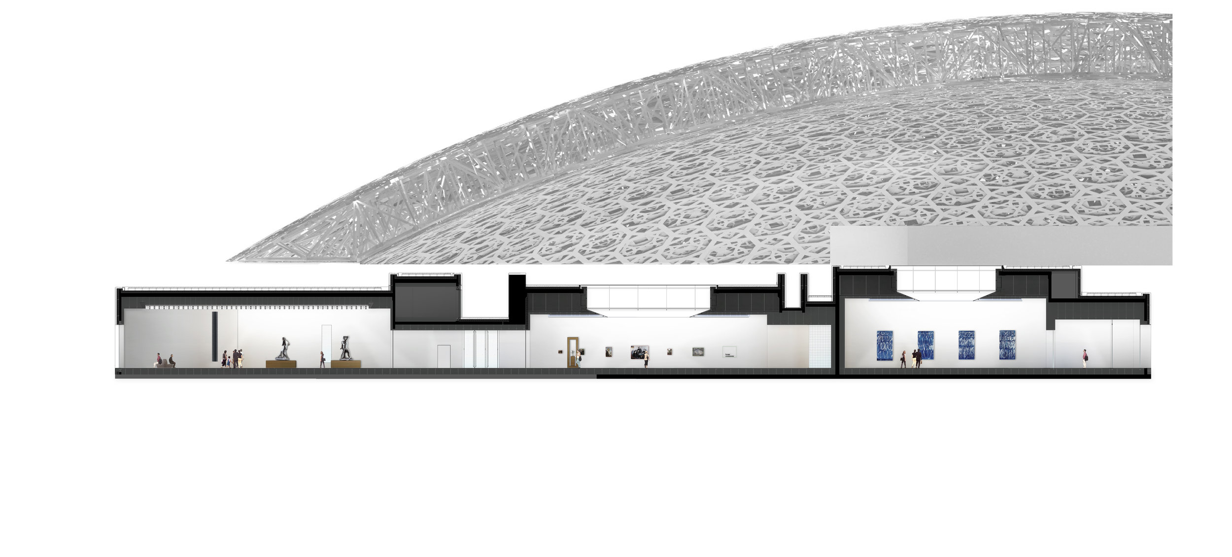 The dome of the Louvre Abu Dhabi appears to float, an illusion achieved through an engineering feat employing four earthquake-proof supports
