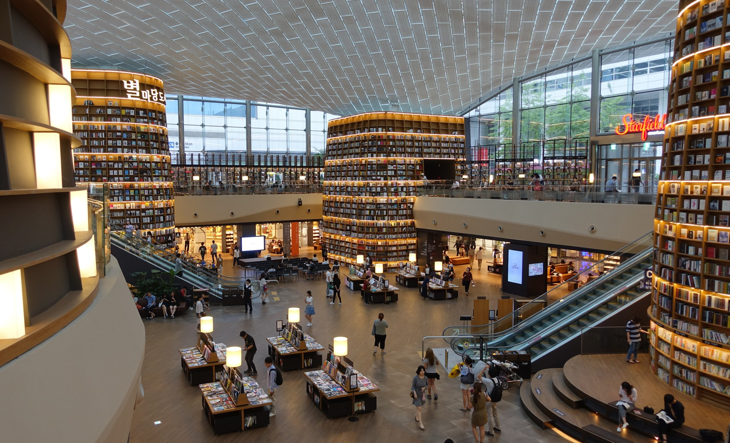 Although sited underground, Seoul's Starfield Library has a glass roof that provides light