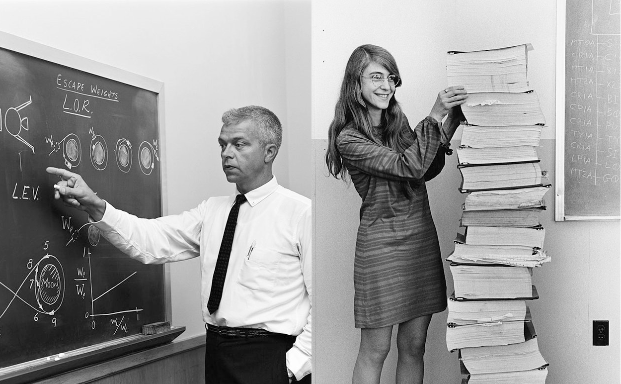 "NASA engineers in the late 60's ""white boarding"" ideas, creating concepts and writing code.    Reading left to right; NASA engineer John C. Houbolt describes the Lunar Orbit Rendezvous concept at the chalkboard in July 1962. Image Credit: NASA. Margaret Hamilton, the mother of software, stands next to a stack of Apollo Guidance Computer source code. Image Credit: NASA"