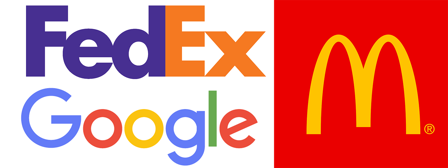 These are examples of good logos. They are some of the most recognizable logos in our society because they are easy to read and their color schemes work together. They are bright and bold, yet simple, and that's why they catch your attention so quickly.