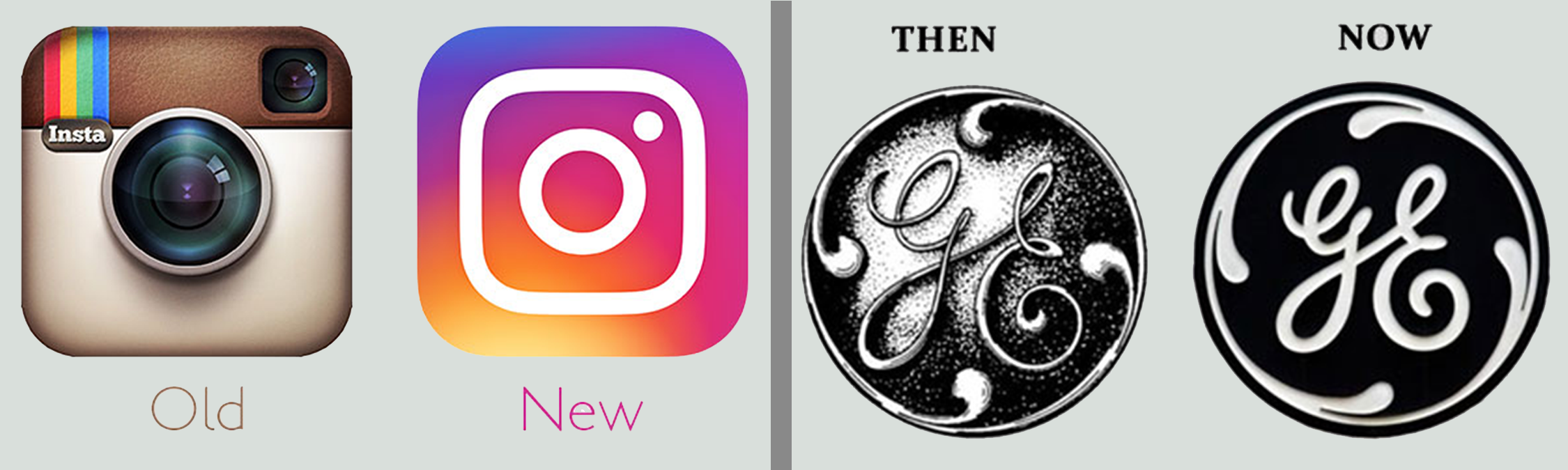 Even some of the most well-known logos and brands are opting for a more simplified version of their logo. Even Instagram recently made the change to a more simple logo. GE's simplified change has been around for a while, but it's clear to see the updated version is cleaner and easier to read.