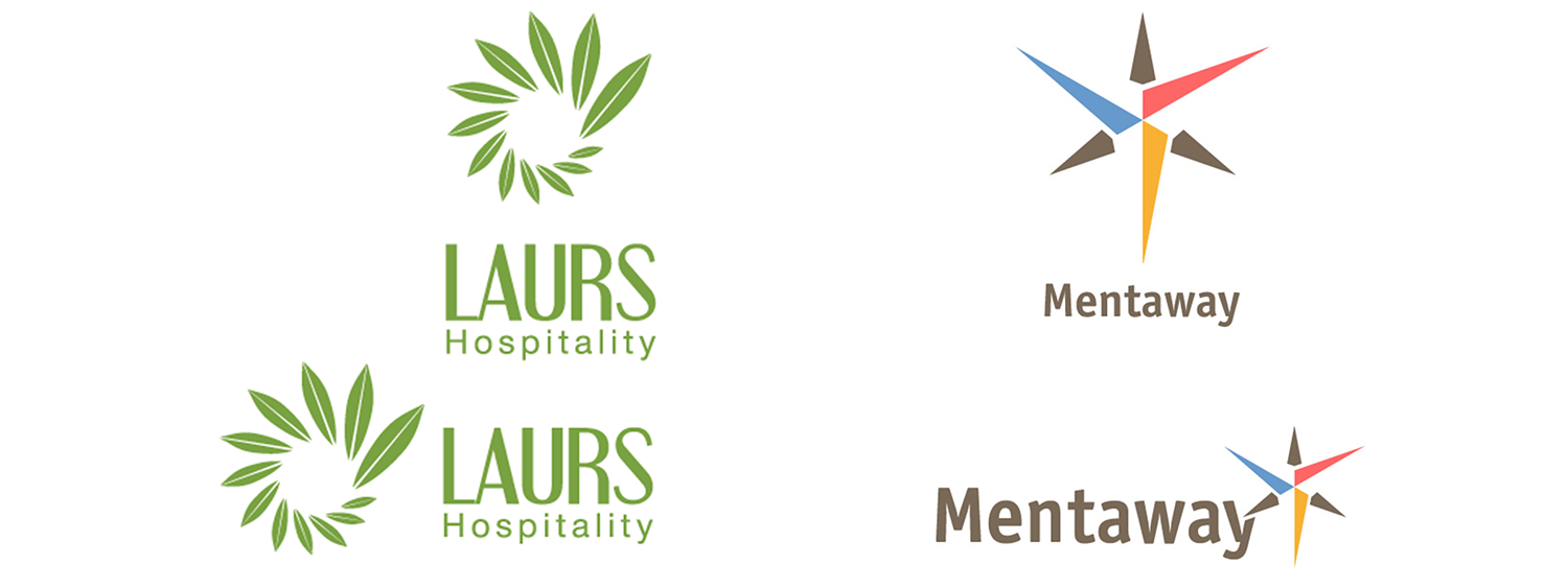 These are two awesome examples of having horizontal and vertical versions of the same logo. As you can tell, each format retains the same elements, just the arrangement changes.