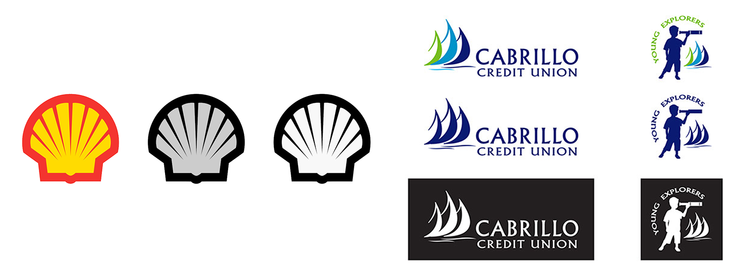 These are also great examples of logo variation. Keeping a logo simple leaves room for it to easily be created in one-color, full-color, grayscale, and black-and-white versions.