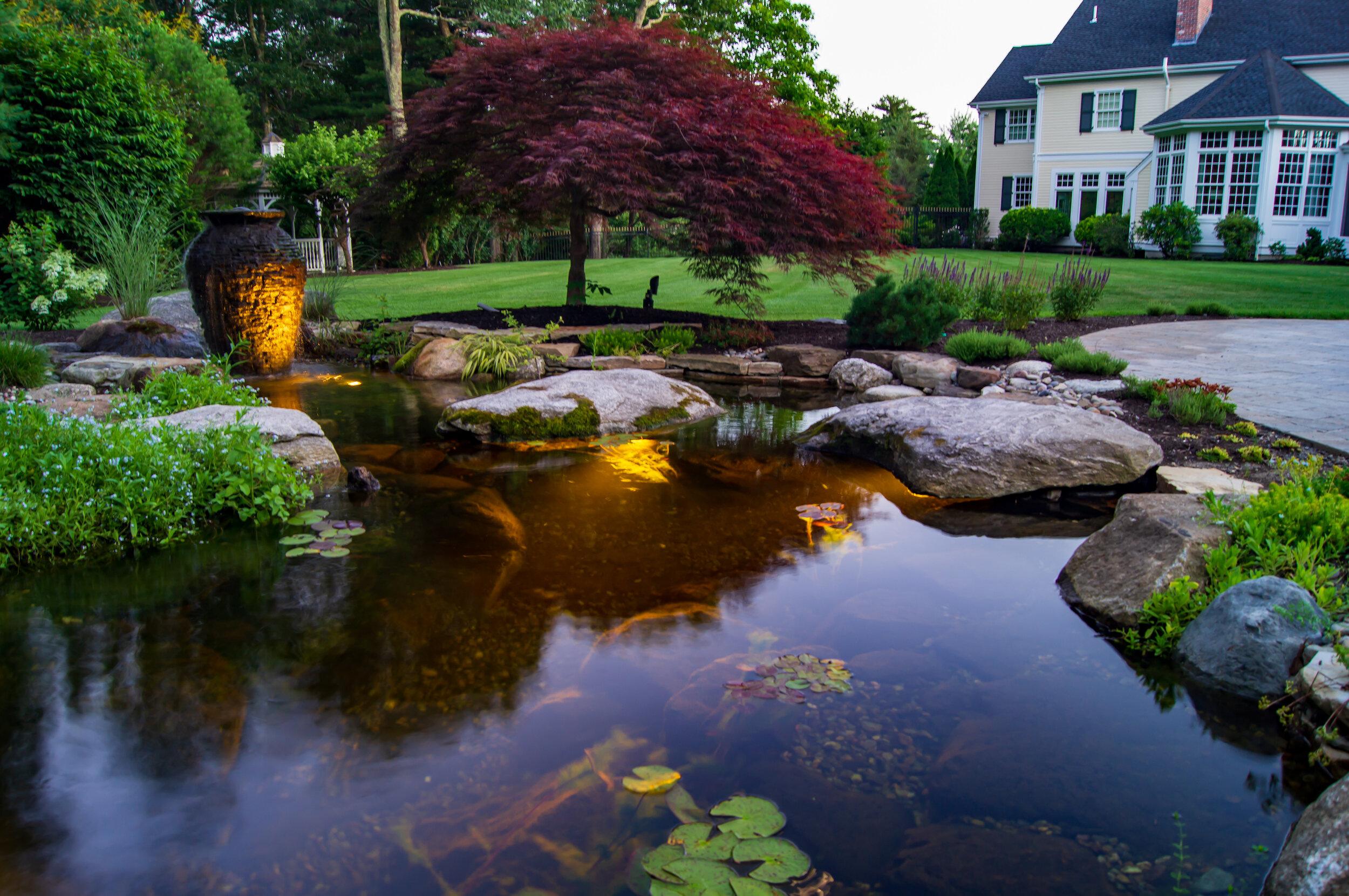 Larger Yards Fallingwater Scapes Landscape Design Construction Water Feature Designer Builder Certified Aquascape Contractor In Boston Massachusetts Koi Pond Builders Massachusetts Outdoor Water Garden