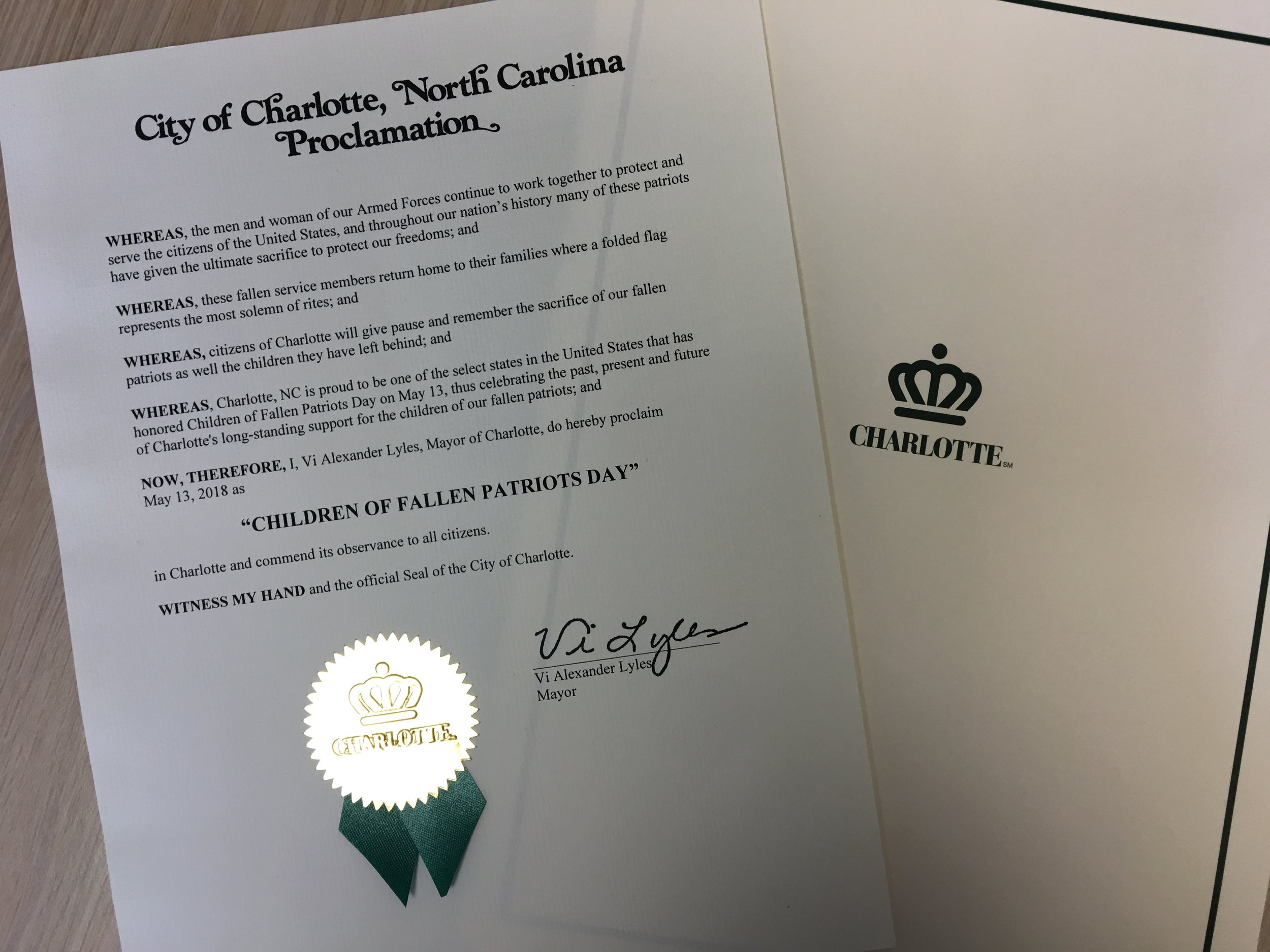 Charlotte, North Carolina 2018 Proclamation.JPG