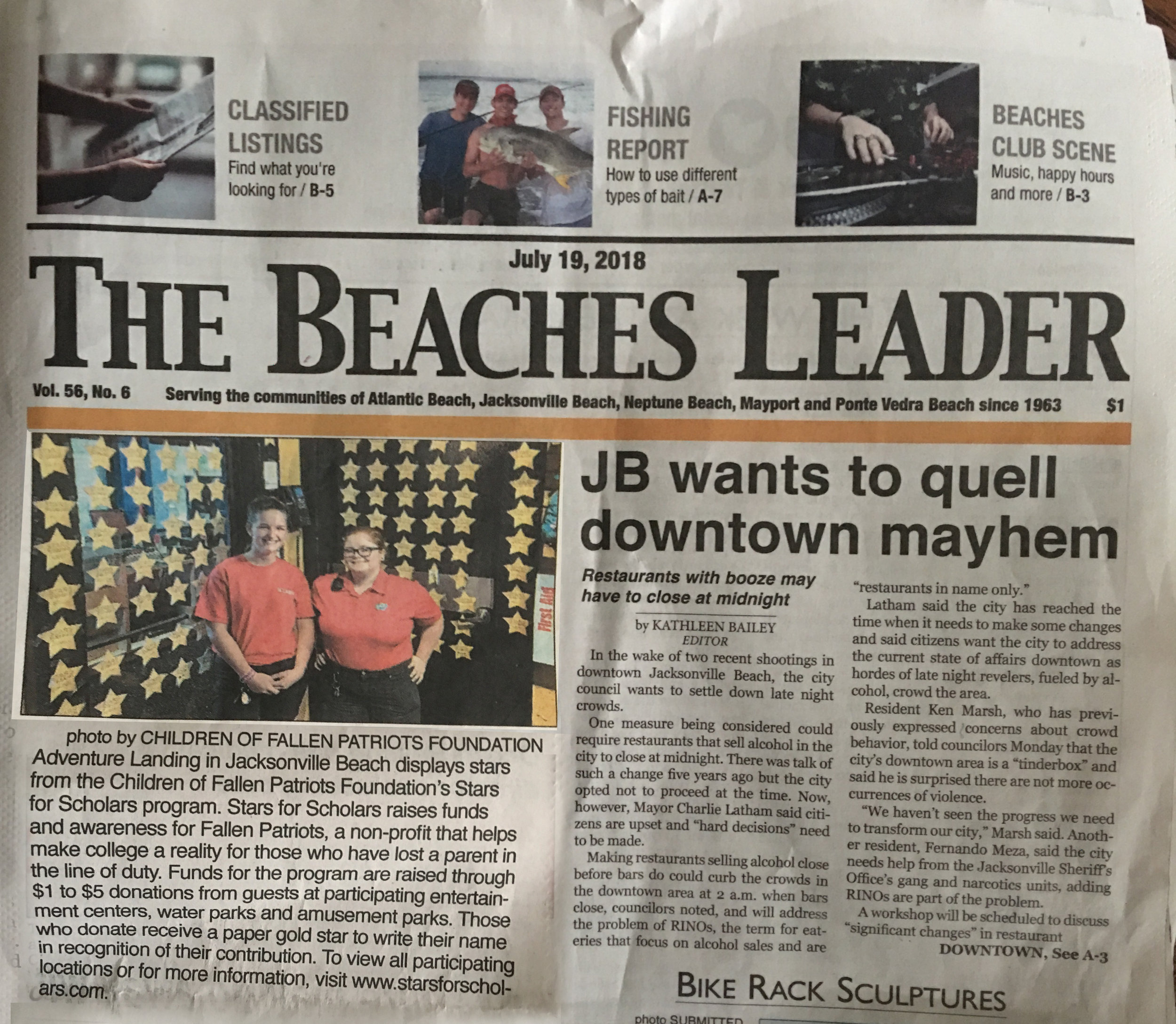 Beaches Leader - Stars for Scholars Front Page.jpg