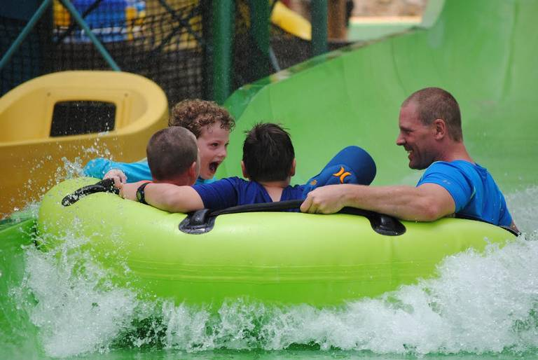Customers enjoy the ride at Hawaiian Falls in Roanoke. The water park in July helped raise money for the Children of Fallen Patriots Foundation, which funds scholarships for children who have lost a parent in the line of duty. Hawaiian Falls Courtesy