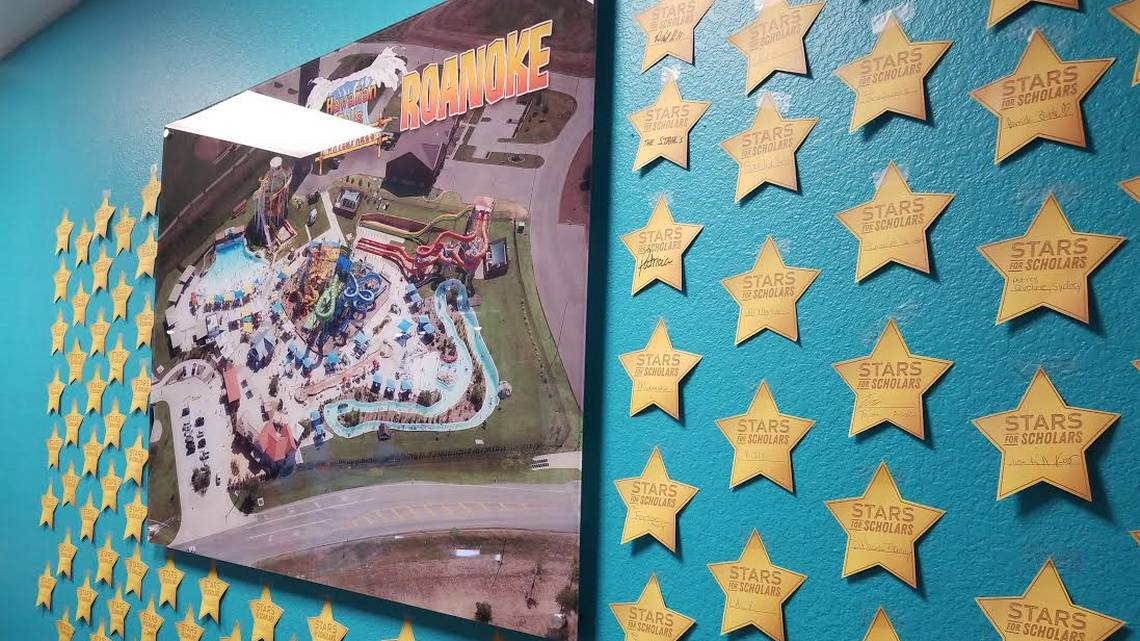 Gold stars line the wall at the front desk at Hawaiian Falls in Roanoke, where visitors and employees contributed hundreds of dollars towards the Children of Fallen Patriots Foundation. Nicholas Sakelaris Special to the Star-Telegram