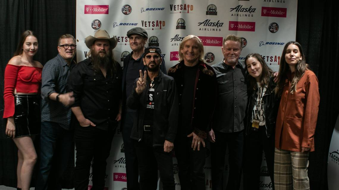 Joe Walsh and Ringo Starr (center) were joined by members of HAIM, Drew Carey, Chris Stapleton, James Taylor and Don Henley for Sunday's Tacoma Dome VetsAid fundraising concert. MIKE LEI