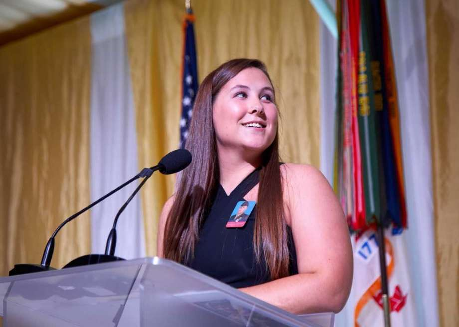 Student speaker Izabel Nelson shares her story at the 10th Annual Greenwich Gala for the Children of Fallen Patriots Foundation. The foundation is helping to fund her college education at Virginia Tech.