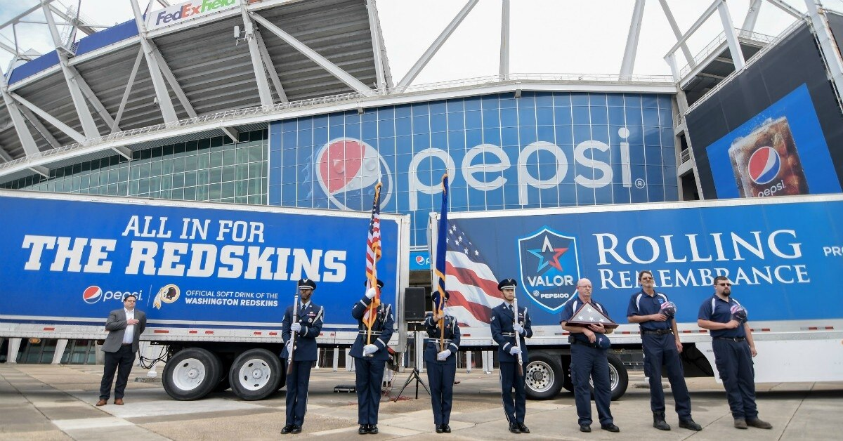 Military members and veterans participate in Rolling Remembrance at FedEx Field in Landover, Md., on Friday, May 10, 2019. (Photo provided by the Washington Redskins)