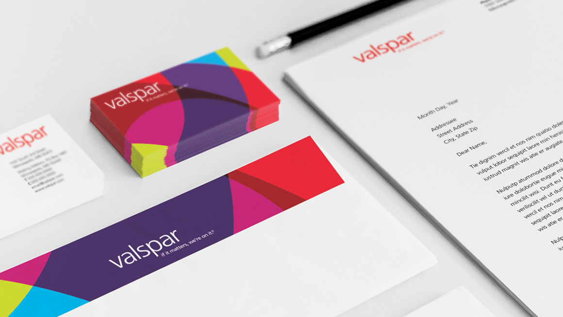 Of note . Brightly-colored graphics composed of overlapping shapes are a unifying element of Valspar's visual identity system.