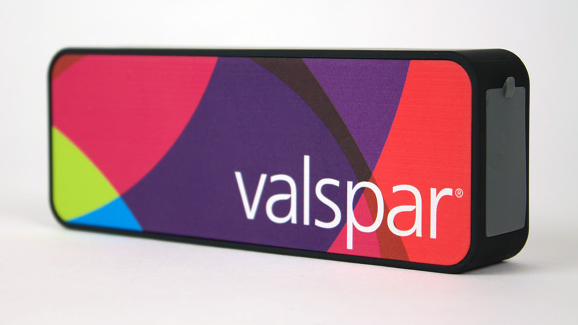 Turn it up . Valspar's identity brightens merchandise, everything from Bluetooth speakers to tote bags.
