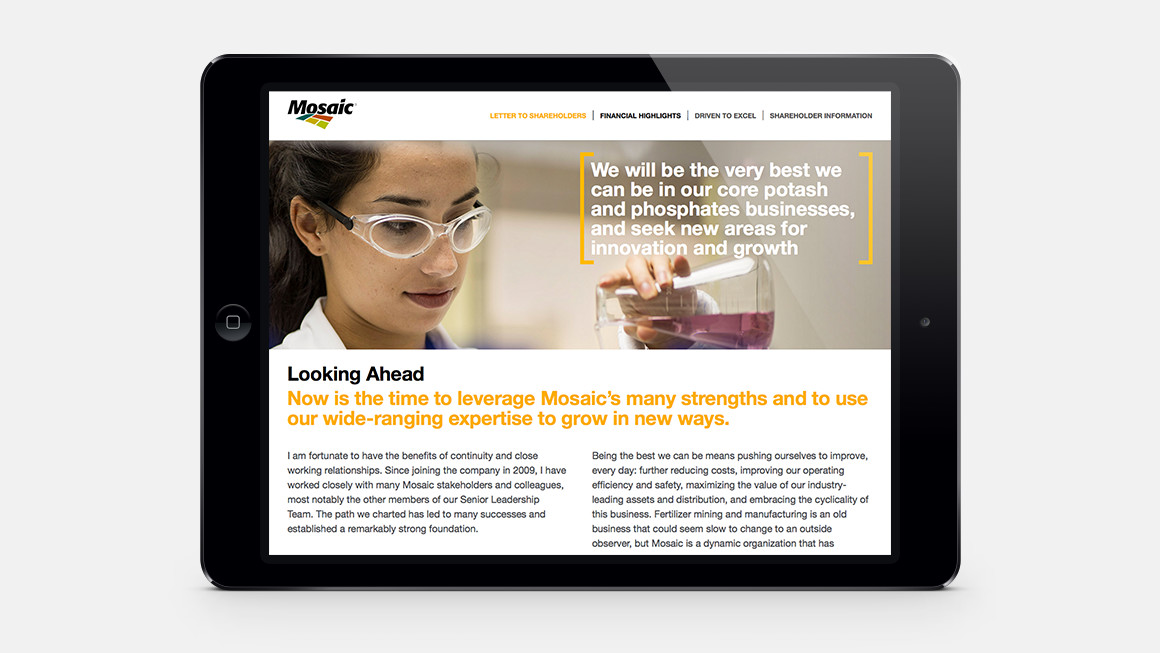 Picture perfect .   Compelling imagery conveys Mosaic's focus points and business drivers.