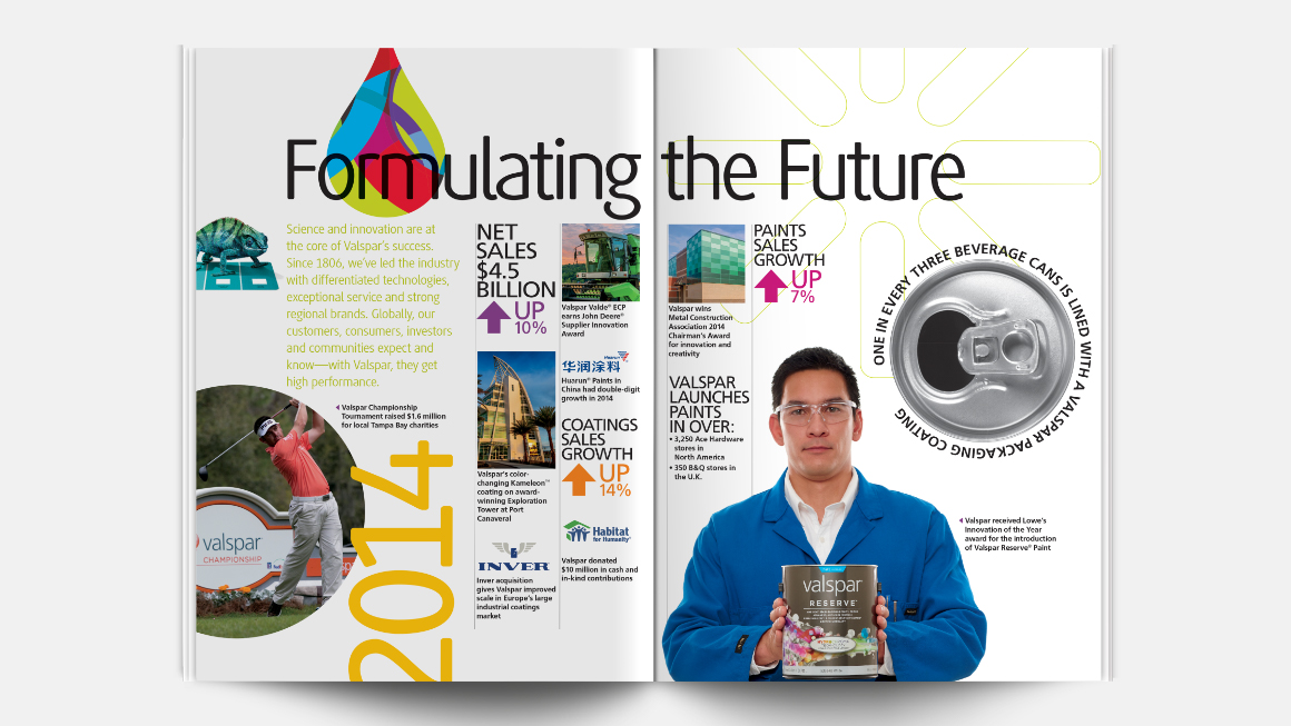 2014 Valspar annual report design - inside spread