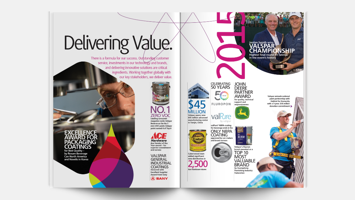 2015 Valspar annual report design - iinside spread