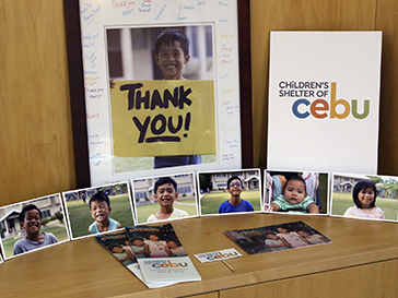 Photos of Filipino kids and gifts expressing thanks from the Children of Cebu organization