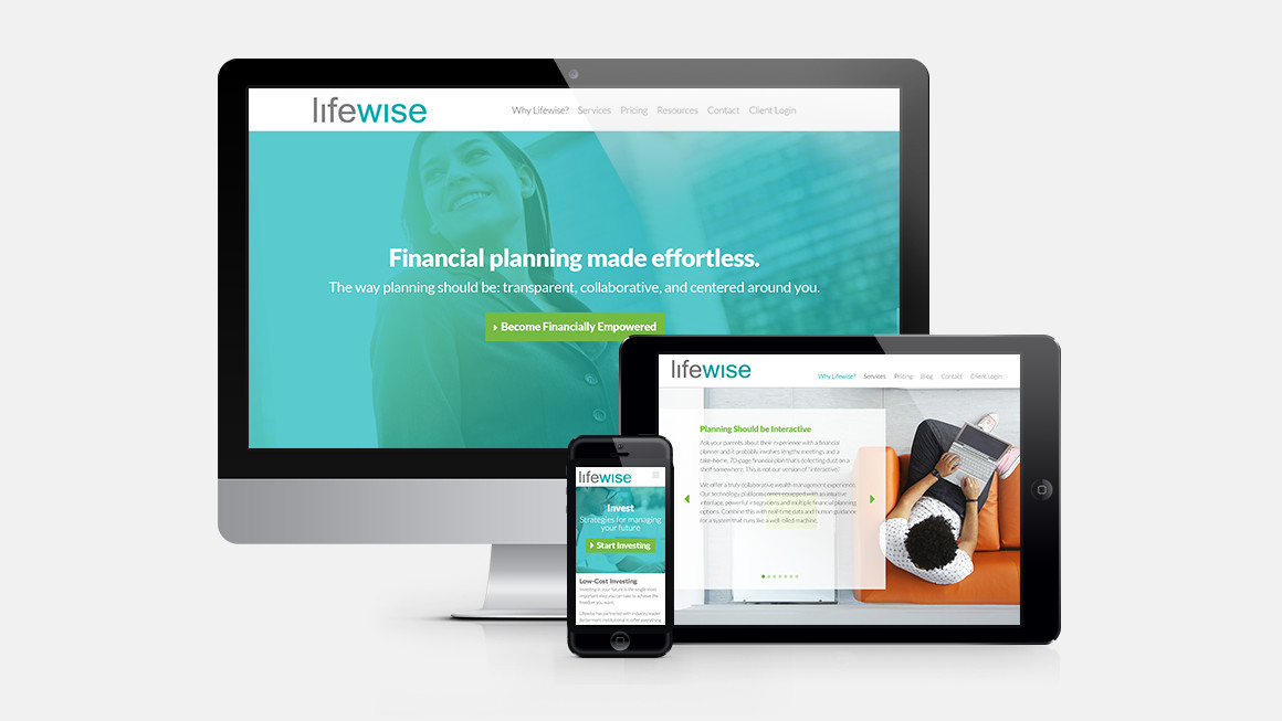 Lifewise website design shown on laptop, tablet and smart phone