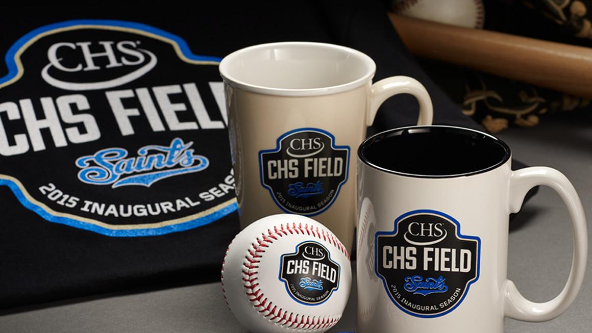 CHS Field inaugural season emblem brand identity on promotional merchandise