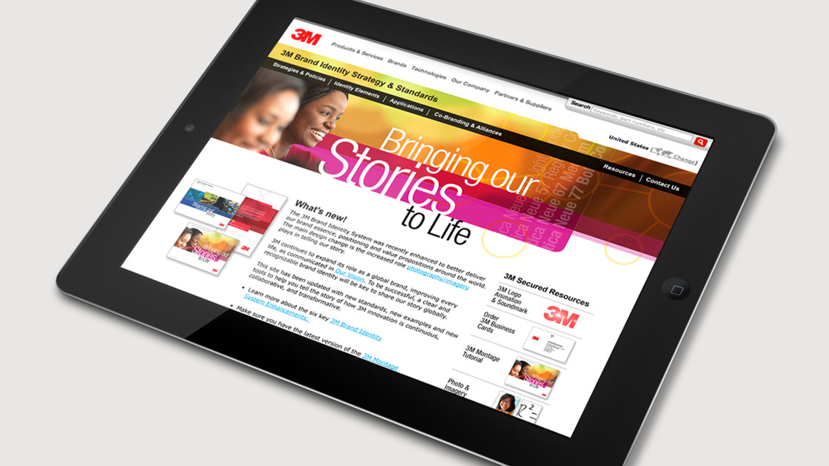 3M brand identity strategy and standards website design shown on a tablet