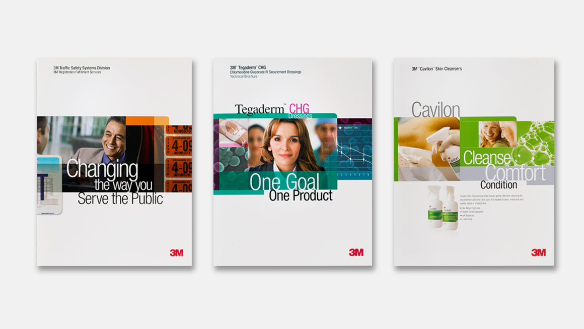 Three marketing communications leveraging the 3M brand identity system