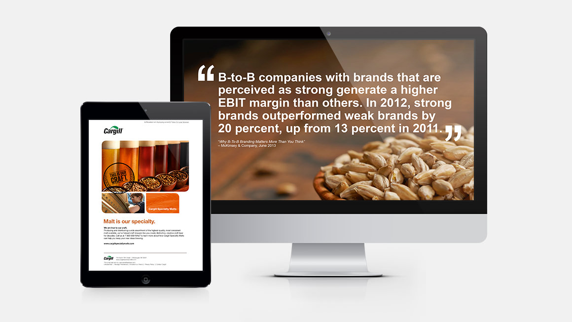 Cargill Specialty Malts email and employee brand training slide