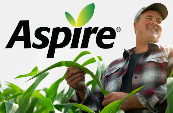 Aspire brandmark and image of a grower in a corn field
