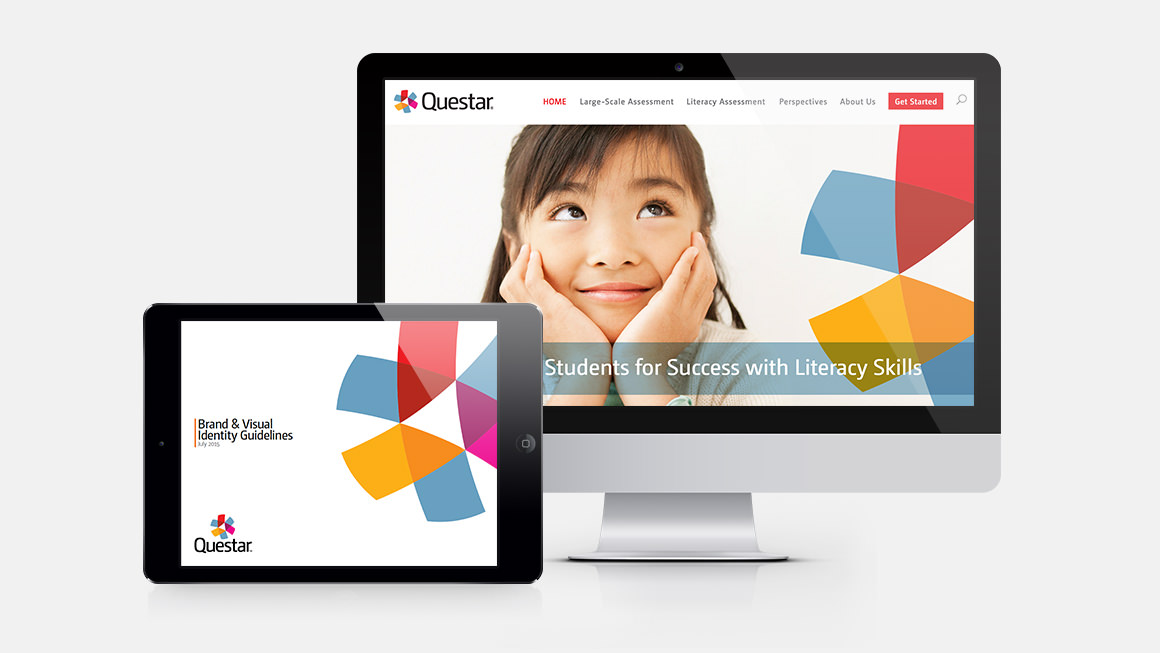 Questar web site on a desktop monitor and brand guidelines on a tablet