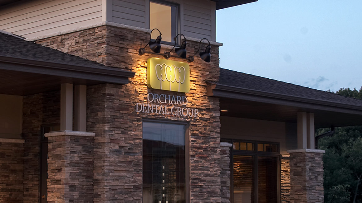 Orchard Dental Group's exterior lighted sign