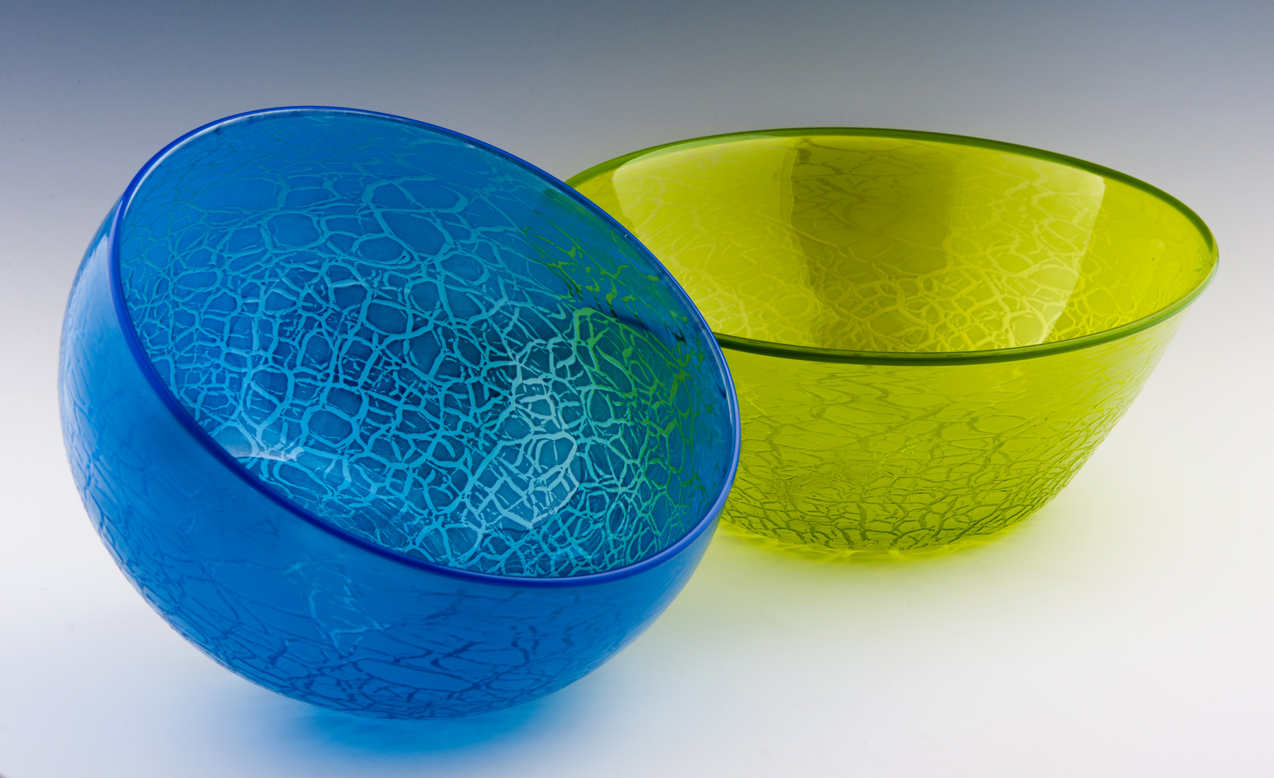 Crackle Bowl, seen here in Blue and Lime.