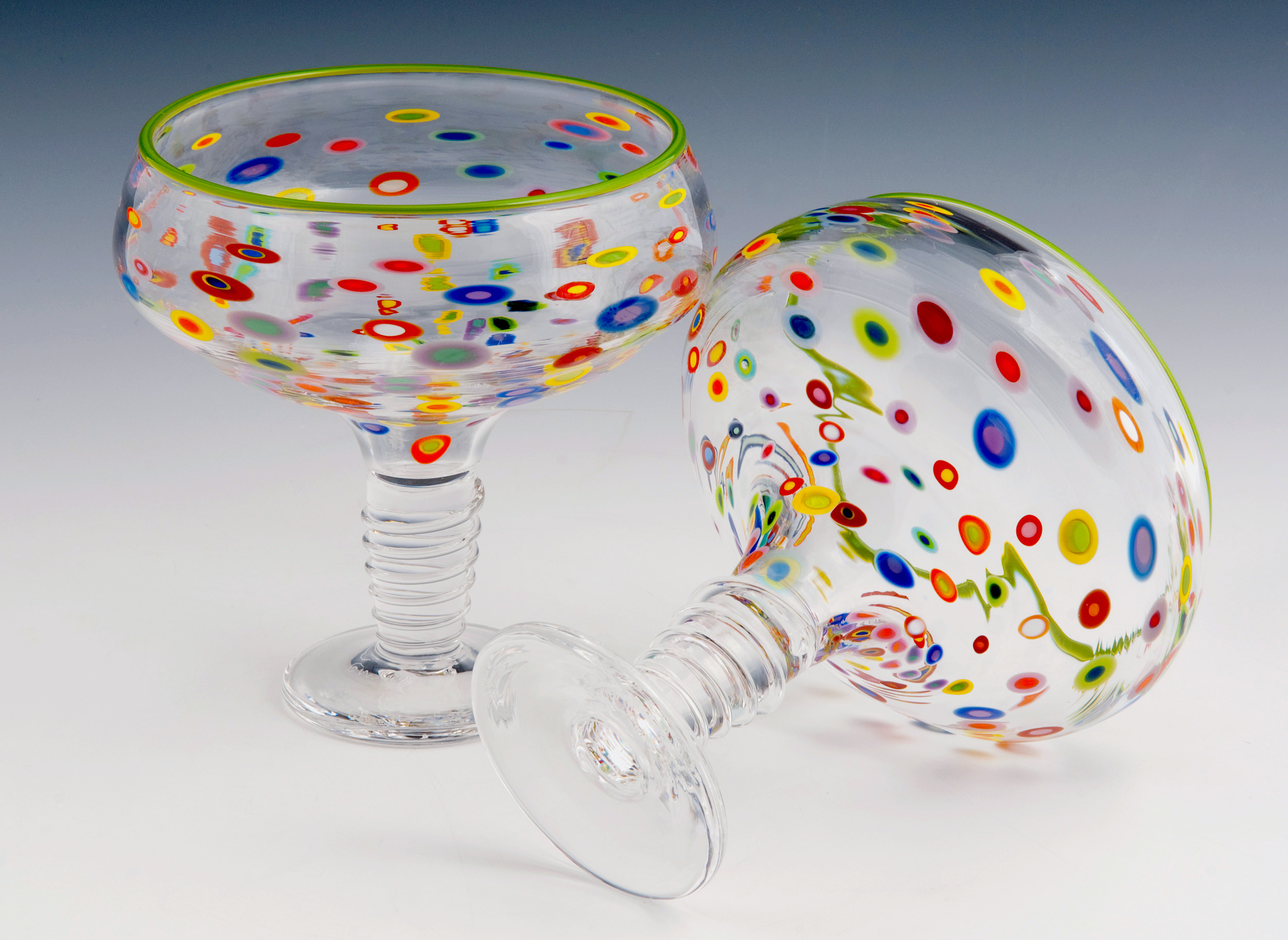 Margarita Glasses seen here in our Superfruit Pattern with Lime Green Rim and Clear spiral on stem.