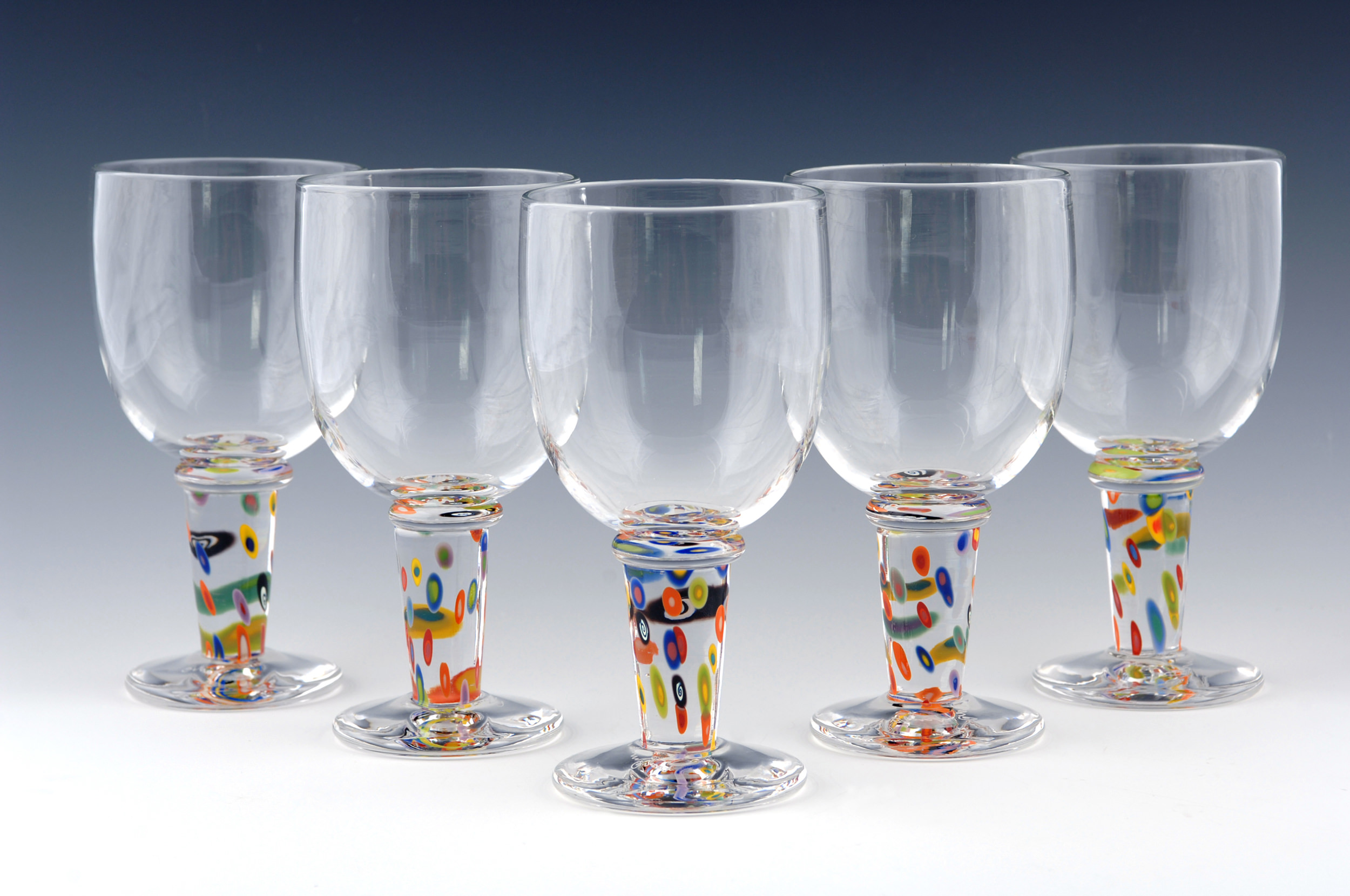 Wine Glasses seen here with the Superfruit Pattern on the stem.