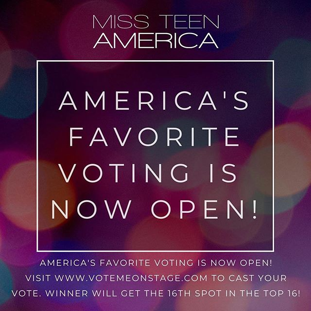 America's Favorite voting is now open! Head over to www.votemeonstage.com and vote your favorite contestant into the 6th spot of the Top 6! . . . #missteenamerica #onequeenonedream #nationals #nationalpageant #madeformta #pageants