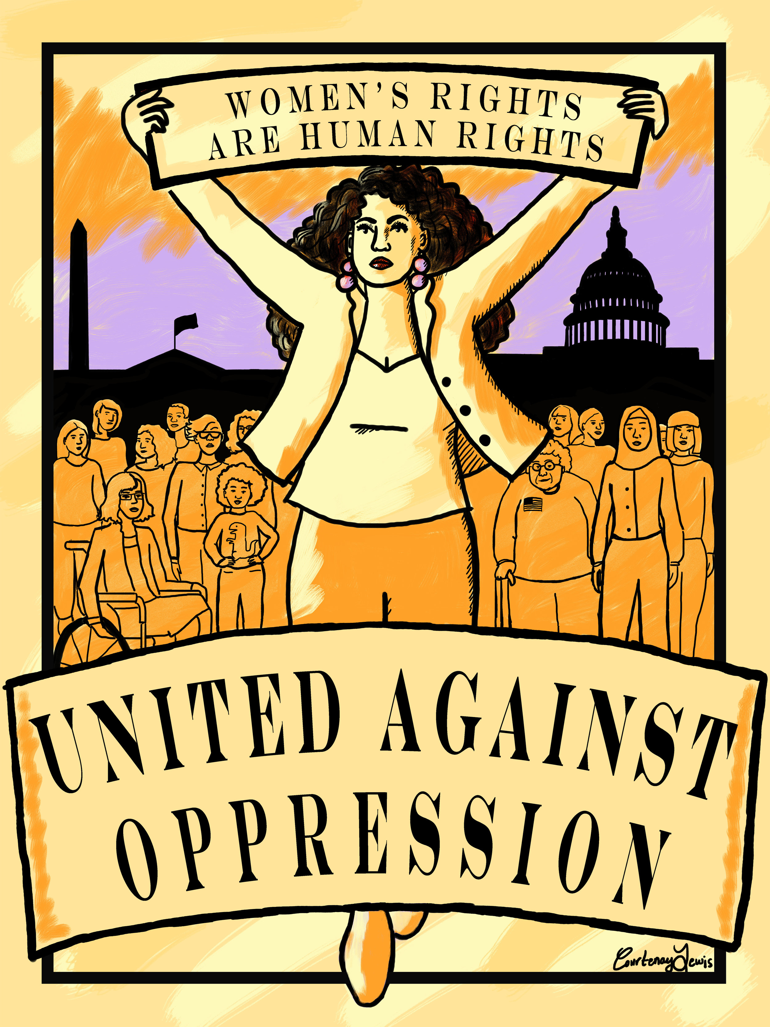 """Poster selected for the Amplifier Foundation's """"Hear Our Voice"""" exhibition celebrating the Women's March on Washington (2017)"""