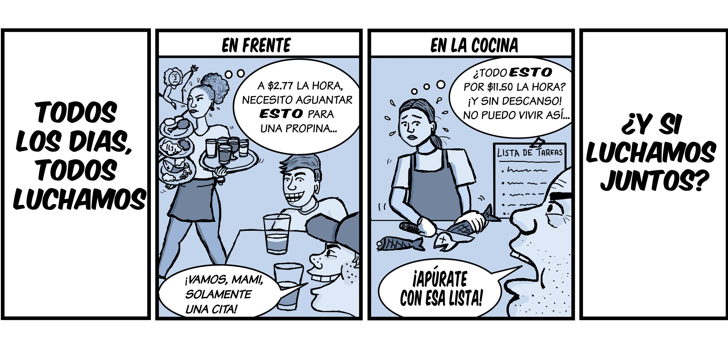 Cartoon for Restaurant Opportunities Centers DC and Many Languages One Voice supporting the rights of restaurant workers (2017)