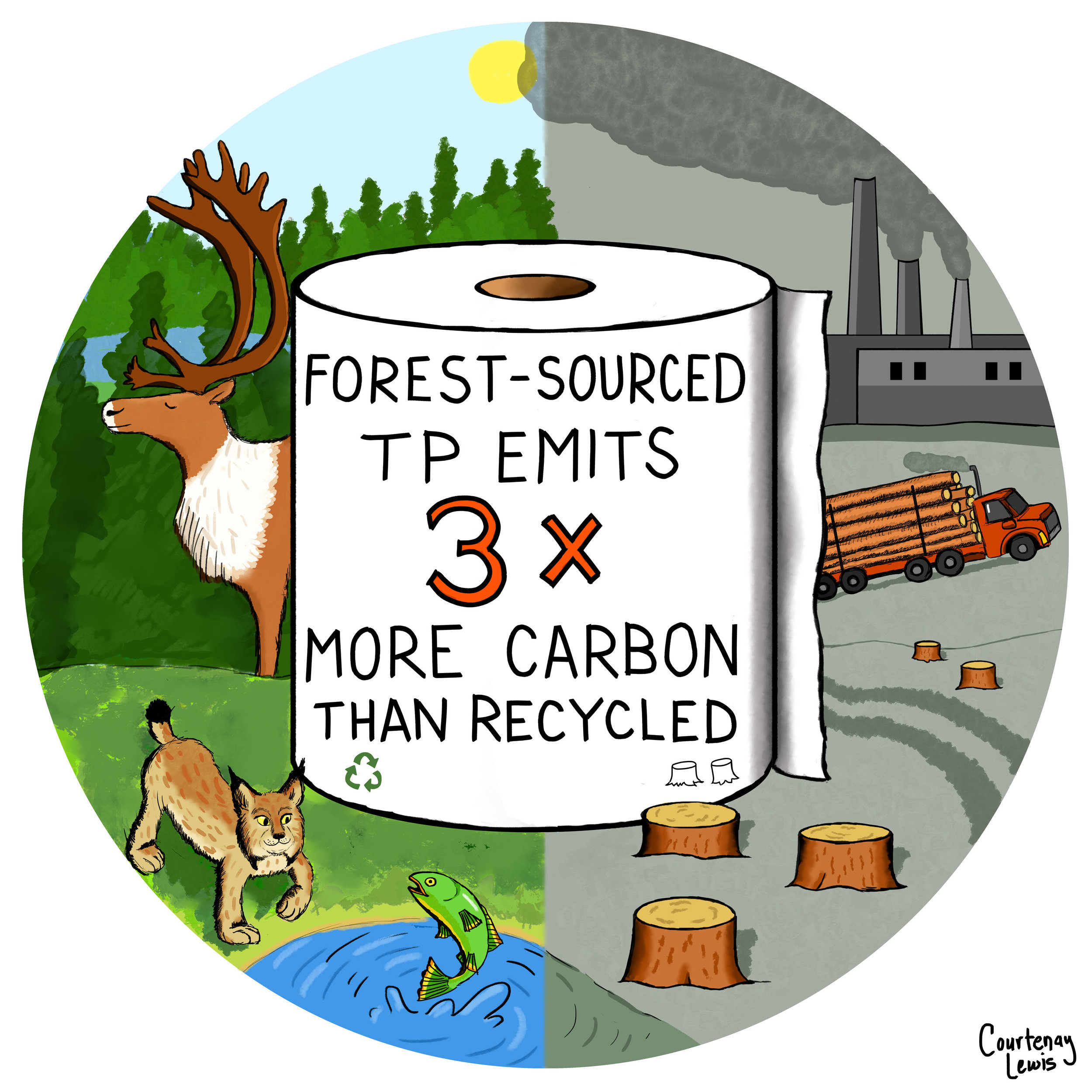 Illustrations for the Natural Resources Defense Council campaign to protect Canada's boreal forest (2019)