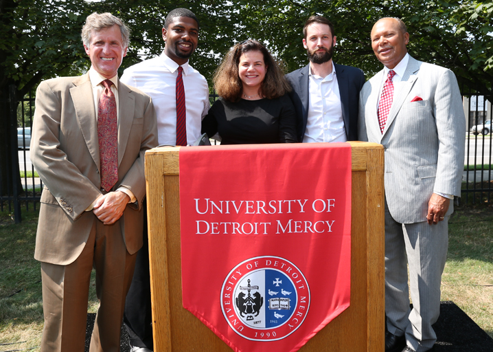 Speakers representing the constituents of the Live6 Alliance, pictured from left to right: Kresge Foundation President & CEO Rip Rapson, Fitzgerald Community member Gaston Nash III, Bagley Community Council member Alicia Biggers-Gaddies, Detroit Economic Growth Corporation Business Development Manager Michael Forsyth and UDM President Antoine M. Garibaldi.