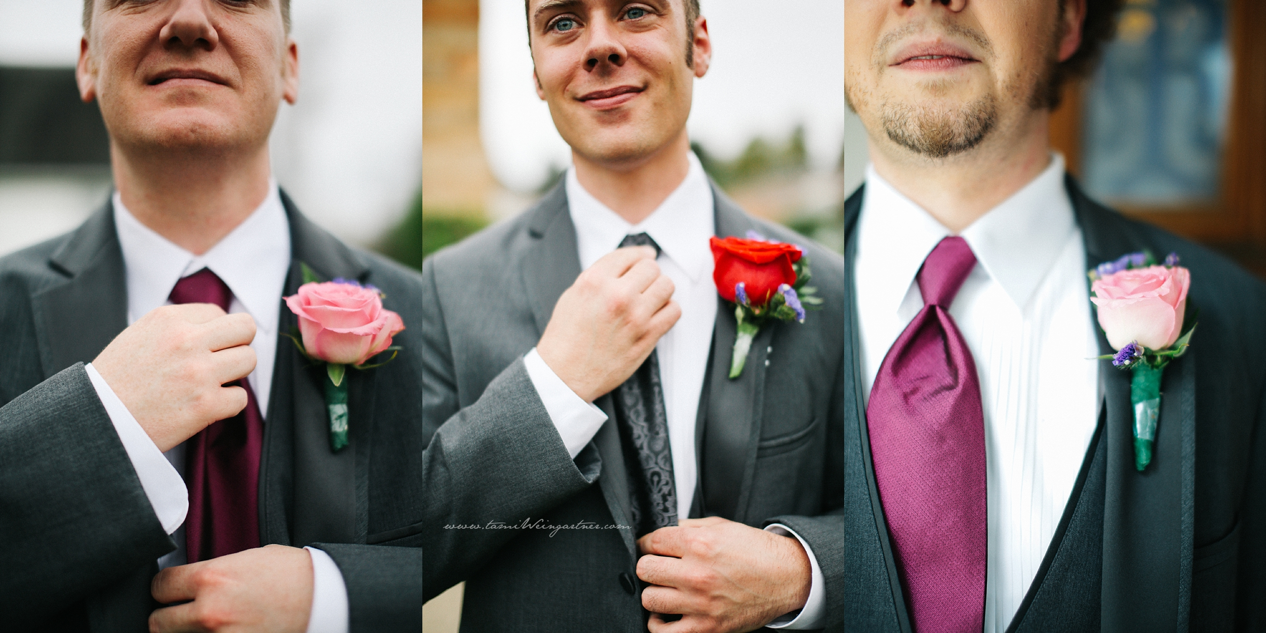 Groom and groomsmen tie variation photos