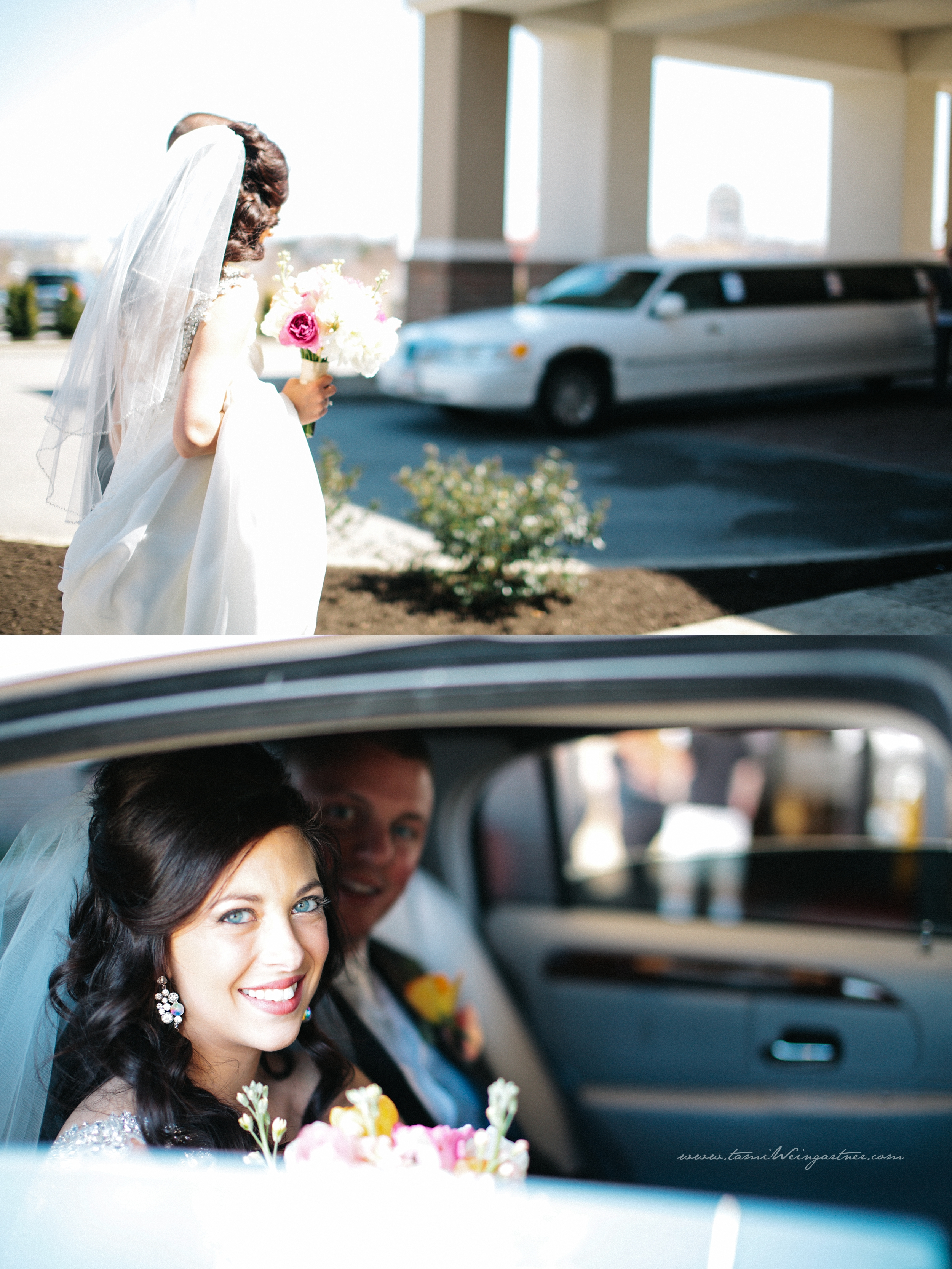 Bride getting ready to leave for the church in a limo