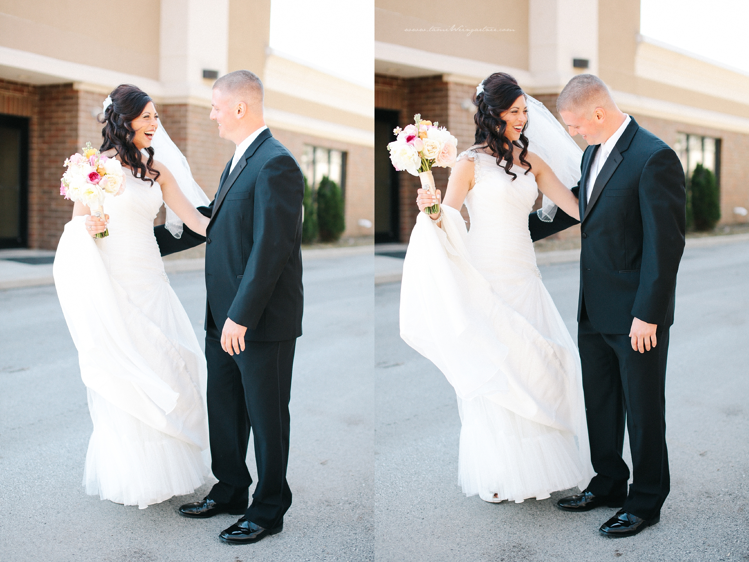 Priceless expressions for bride and groom getting a first look at each other