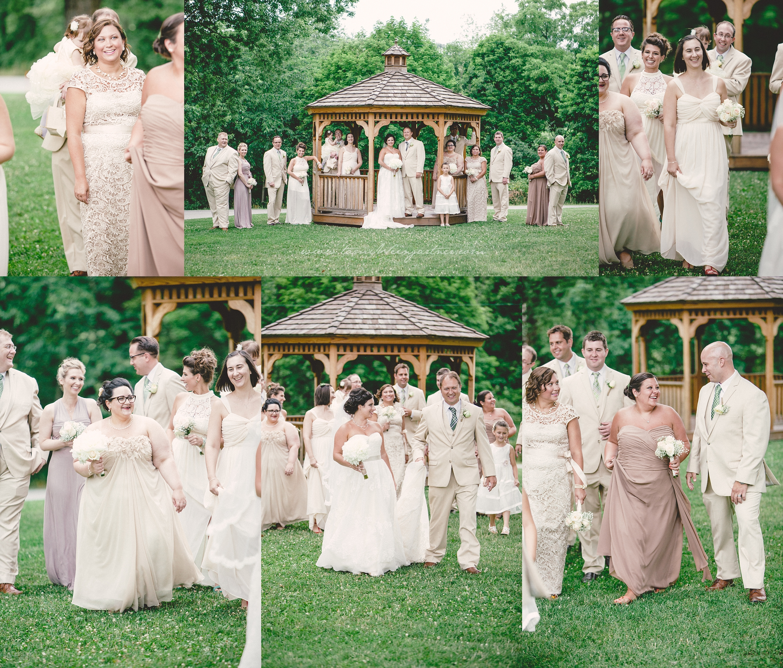 The gazebo and bridal party on the lawn at The Barn at Ligonier Valley