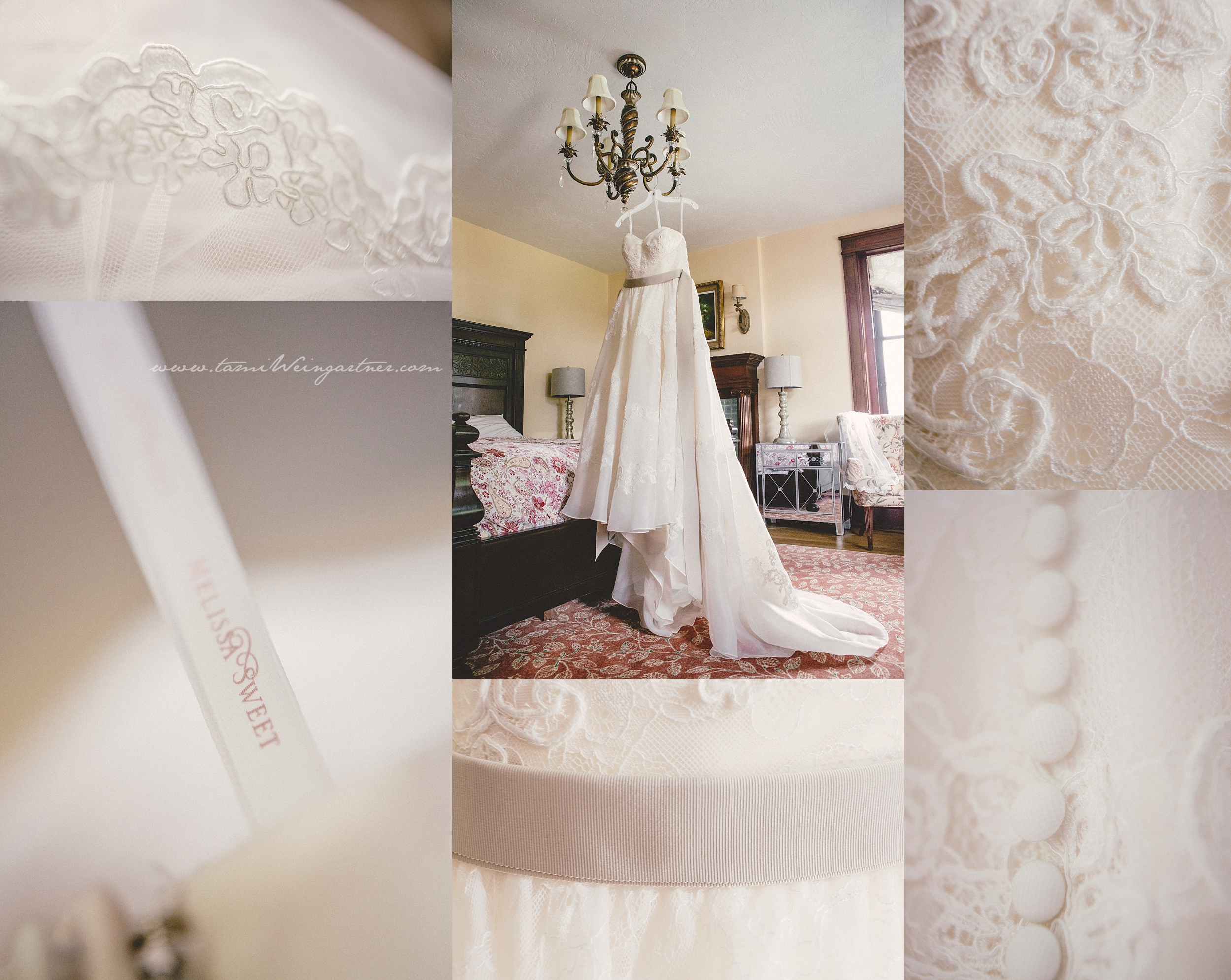 Brides gown hanging at Thistledown at Seger House