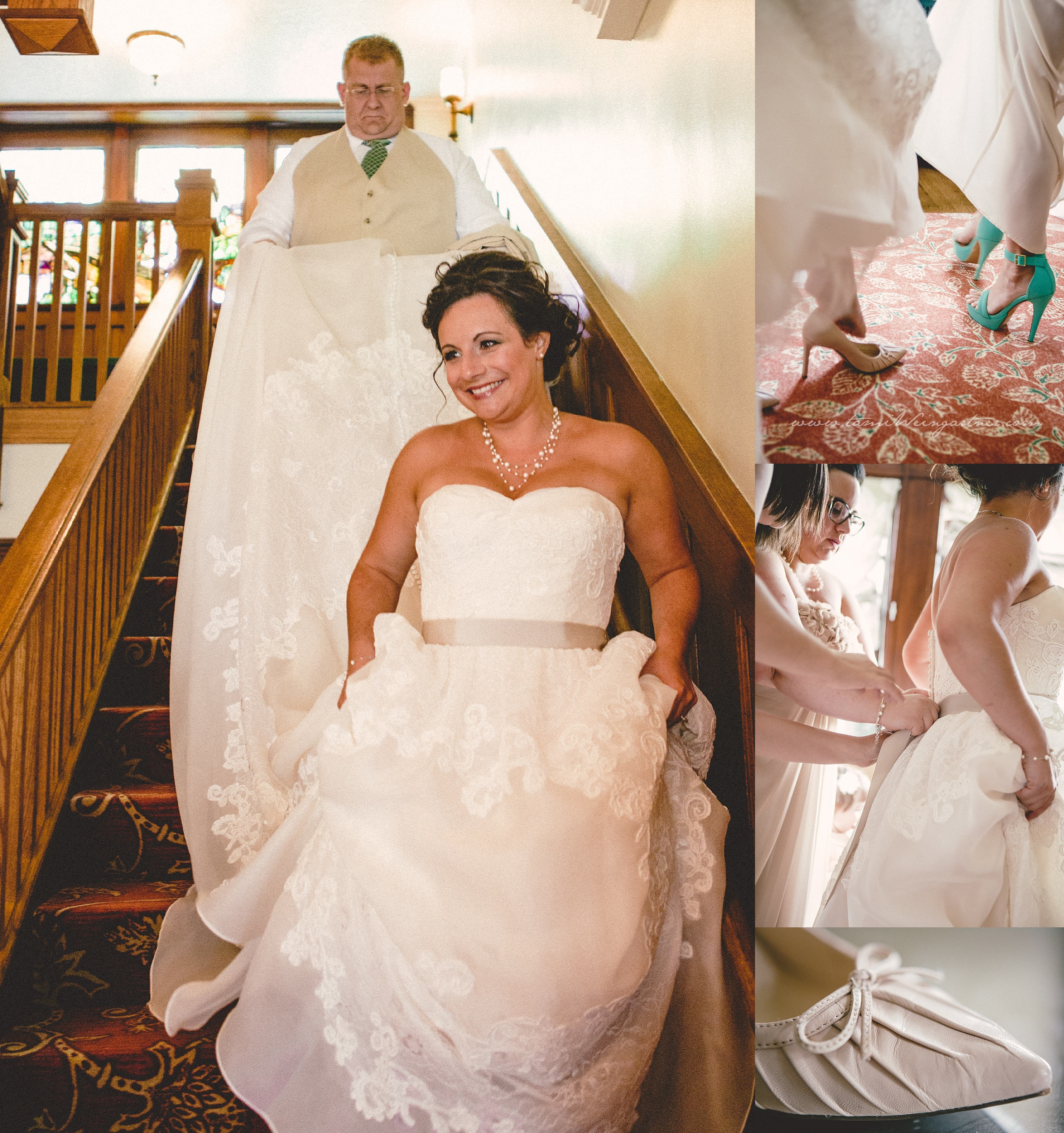 Bride coming down the staircase in Thistledown at Seger House in Ligonier