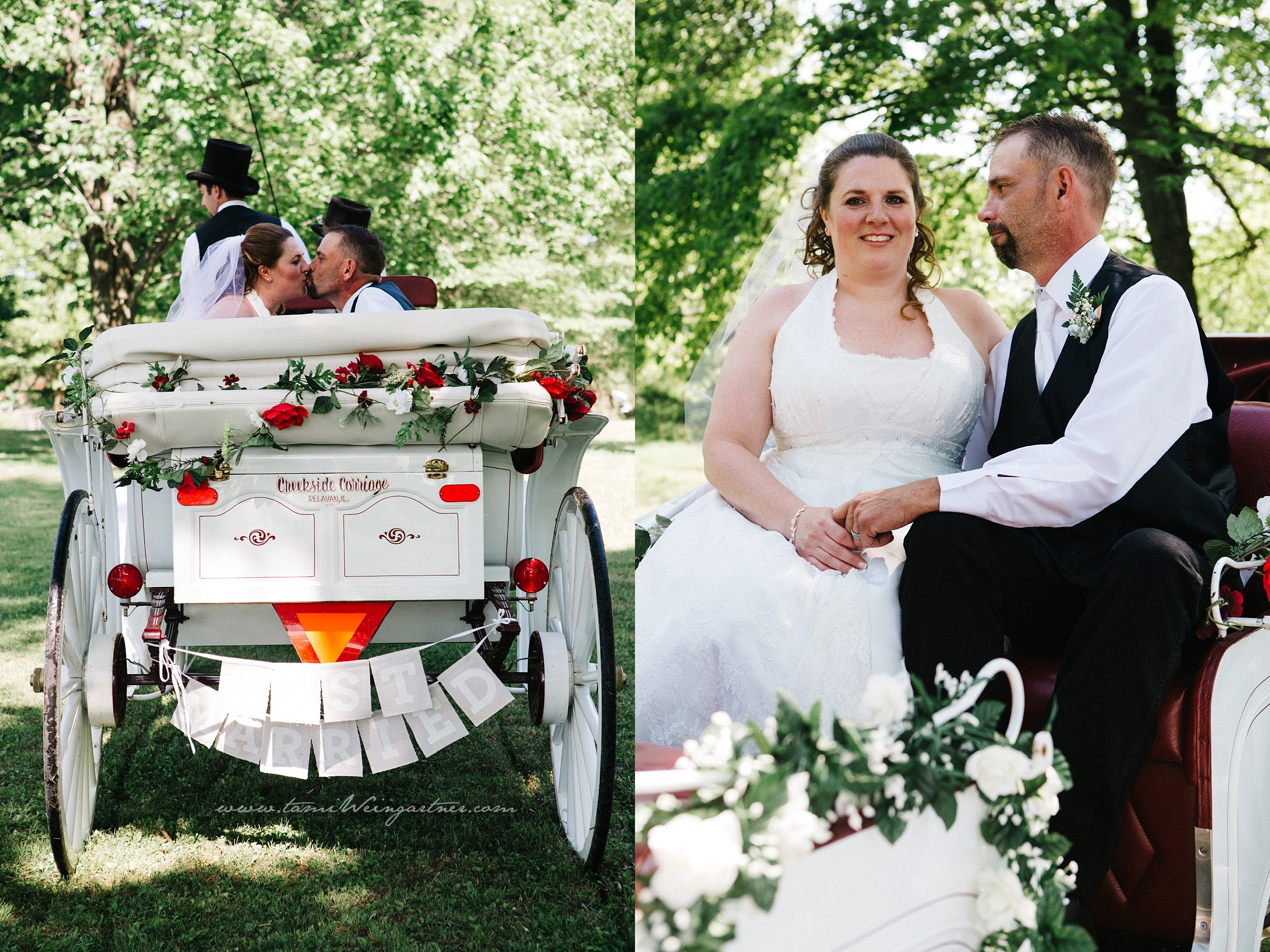 Bride and Groom riding off on a horse and carriage.