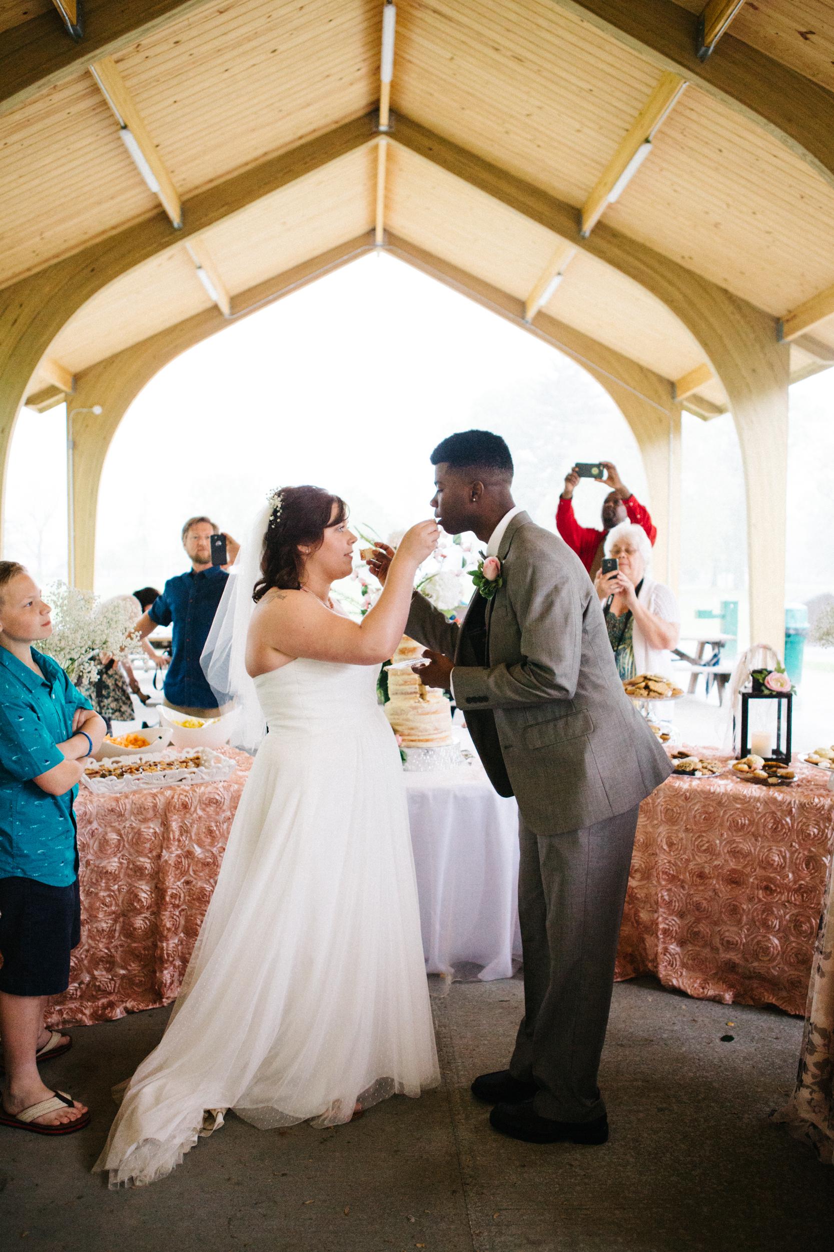 Picnic Wedding Cake Cutting