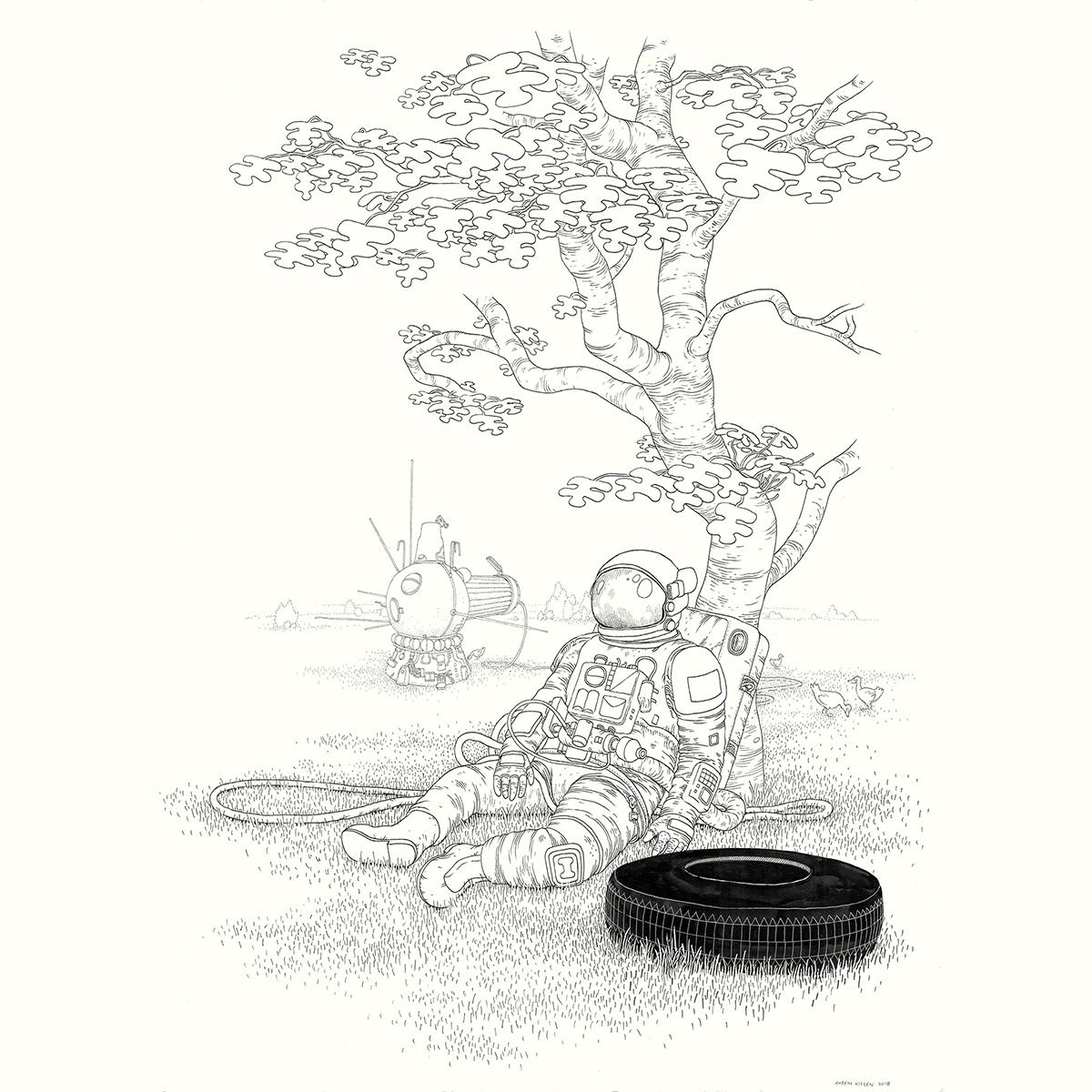 Astronaut with Ducks