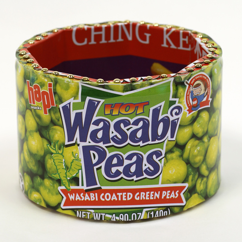 """""""Wasabi Peas"""" Column bracelet with Nutrition Facts"""