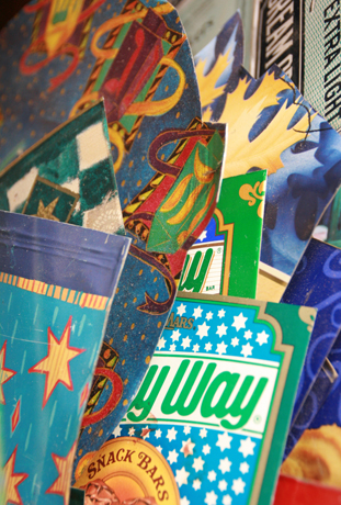 """Tins that will be useful for my  Judaica   are stored in a separate area in my """"wall of tins."""""""